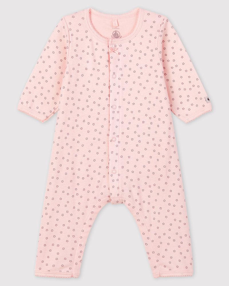 Petit Bateau Roze bodyjama met sterren zonder voetjes