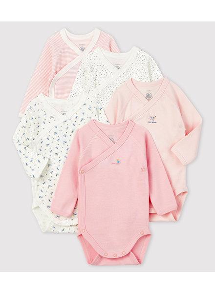 Petit Bateau Set van 5 overslagbody's | wit + roze