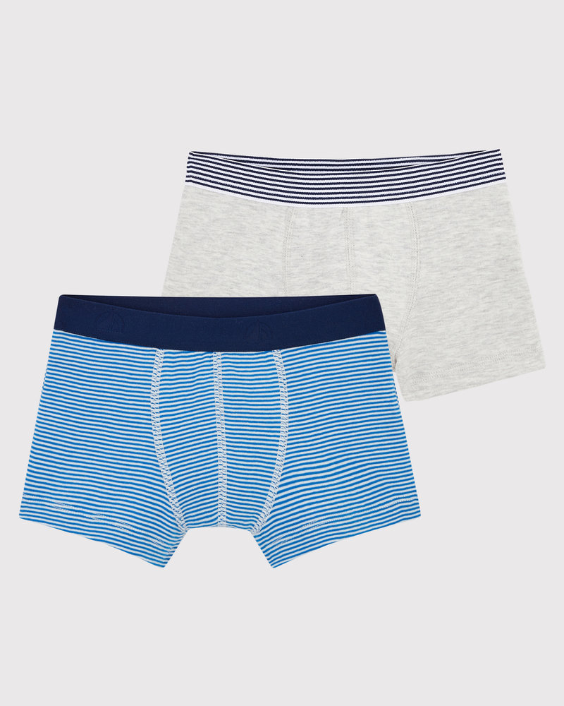 Petit Bateau Set van 2 boxershorts | Milleraies blauw + grijs