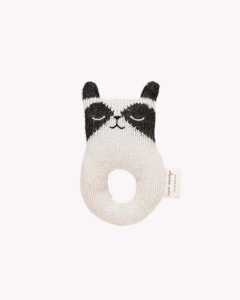 Main Sauvage Rattle raccoon, black and white