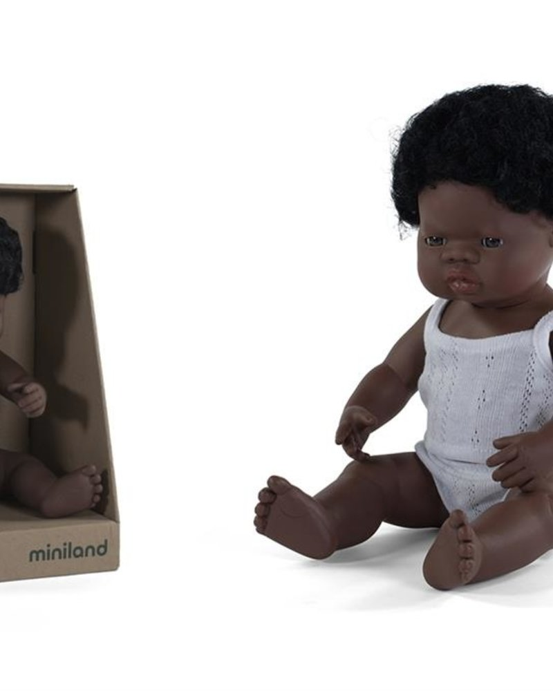 Miniland Pop   Afrikaanse jongen - vanillegeur (38cm)