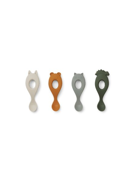 Liewood Liva set van 4 silicone lepels - Hunter green  mix