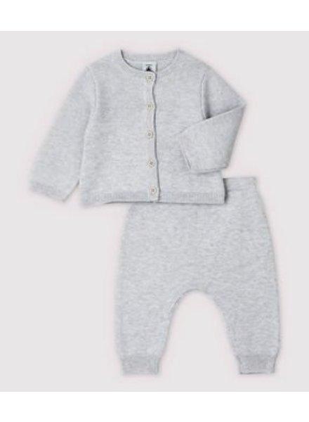 Petit Bateau Knitwear setje   Lichtgrijs