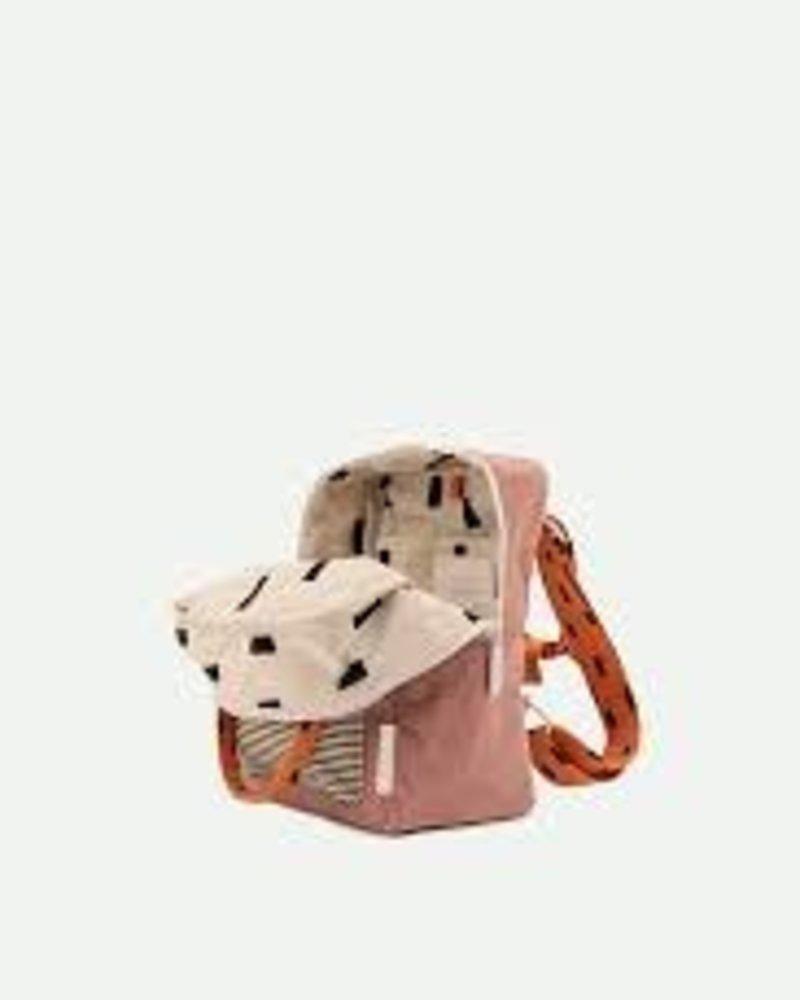 Sticky Lemon Backpack small   Corduroy envelope   Dusty pink + marmalade + carrot orange