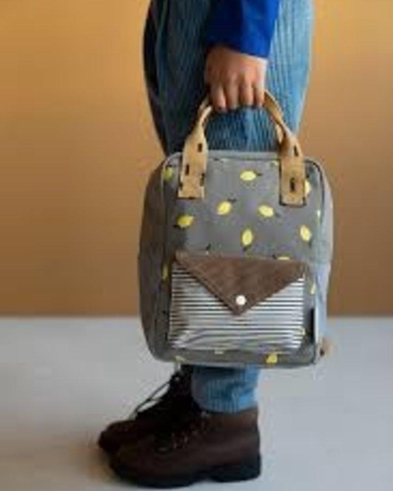 Sticky Lemon Backpack small | Corduroy envelope | Lemon | Pigeon blue + Woody green