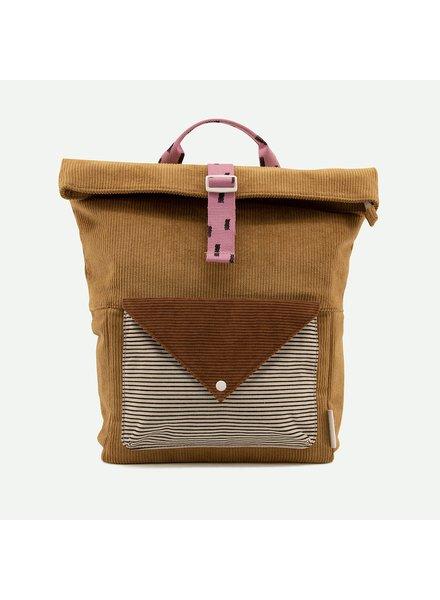 Sticky Lemon Backpack large | Corduroy envelope | Dijon + Gingerbread + Bubbly pink