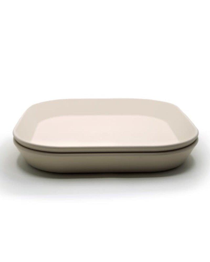 Mushie Set van 2 vierkante borden | Ivory