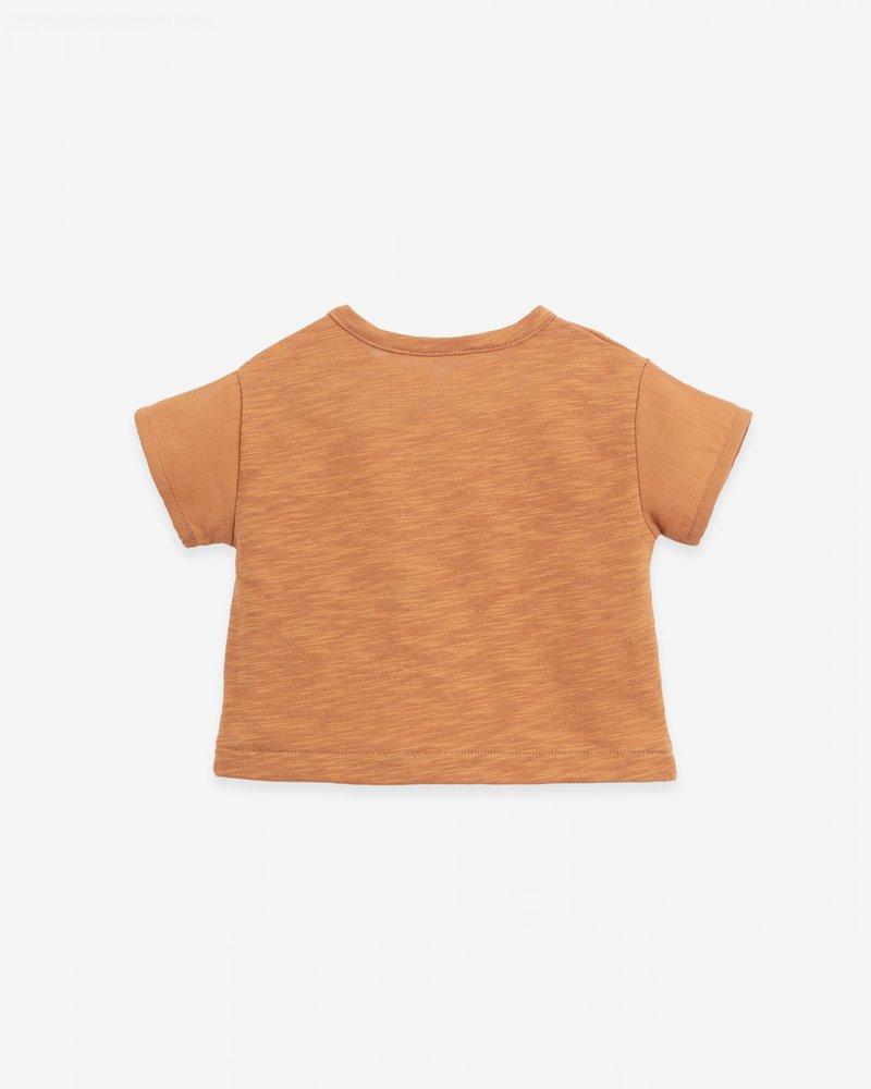 Play Up Mixed T-shirt met zakje vooraan   Raquel   Terracotta