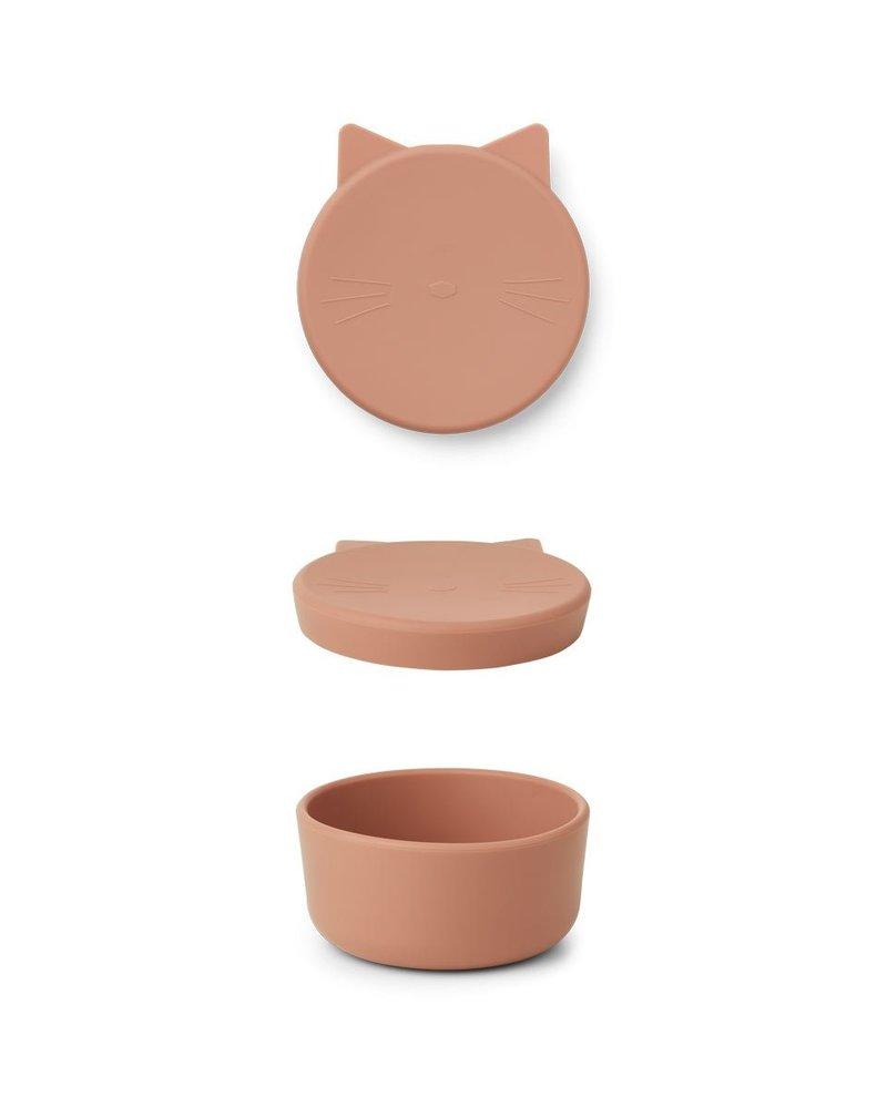 Liewood Cornelius silicone snack box | Cat Tuscany rose