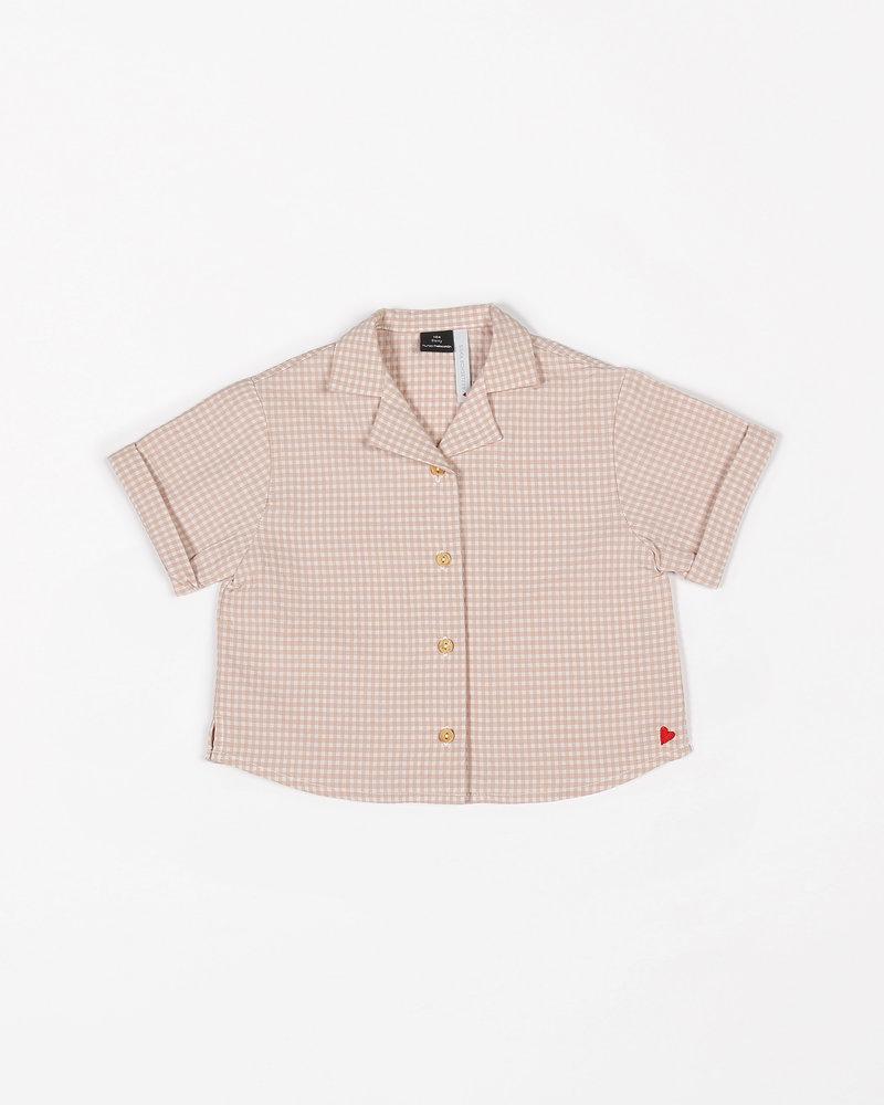 Mundo Melocotón Short sleeve blouse | Small Vichy | Pink Sand