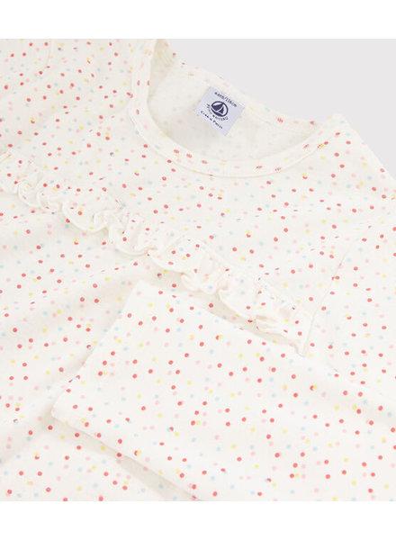 Petit Bateau Pyjama met girly ruffle en gekleurde stippen