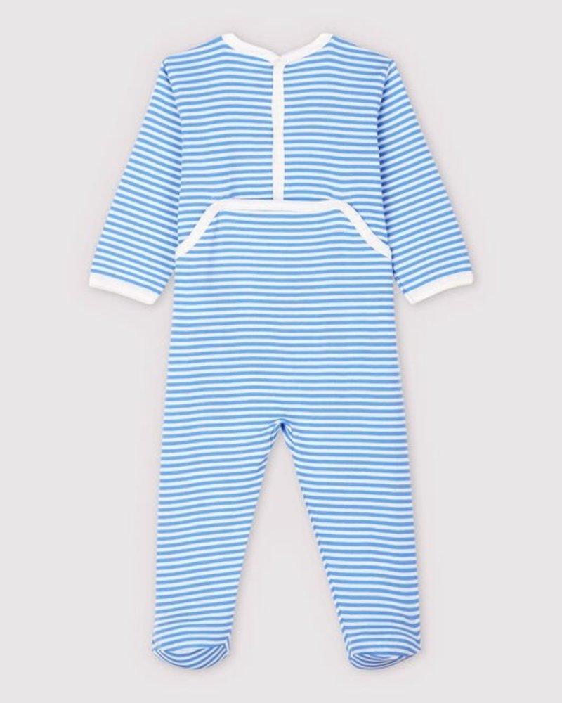 Petit Bateau Gestreepte pyjama met voetjes | Fruit