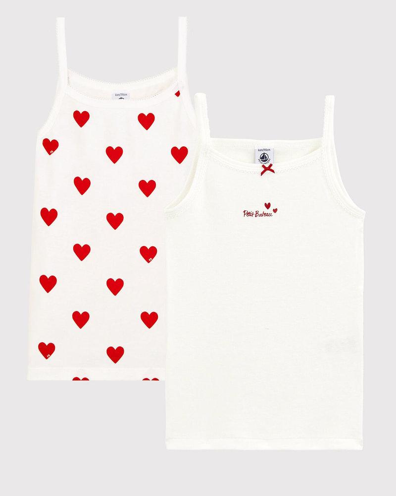 Set van 2 onderhemdjes met spaghettibandjes | Hartjes