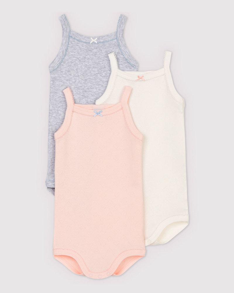 Petit Bateau Set van 3 body's met spaghettibandjes | wit - roze - grijs