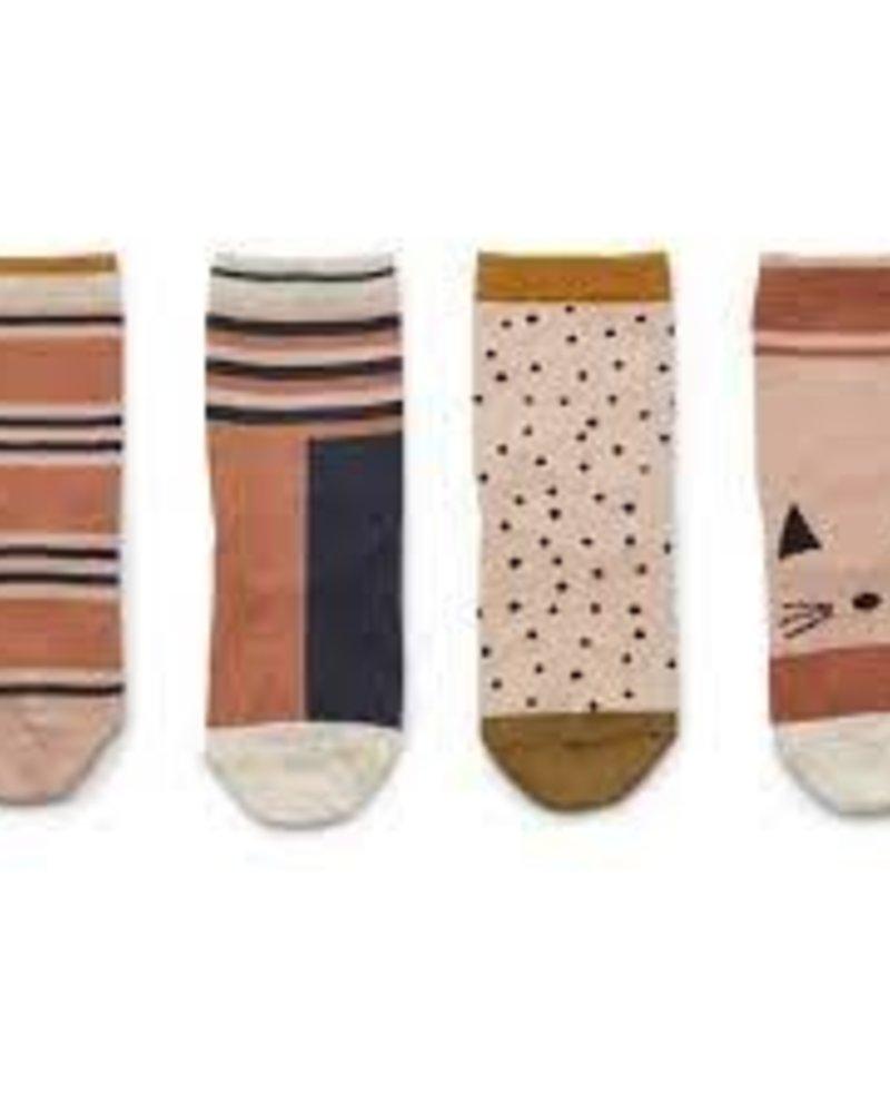 Liewood Silas 4 paar katoenen sokken | Rose multi mix