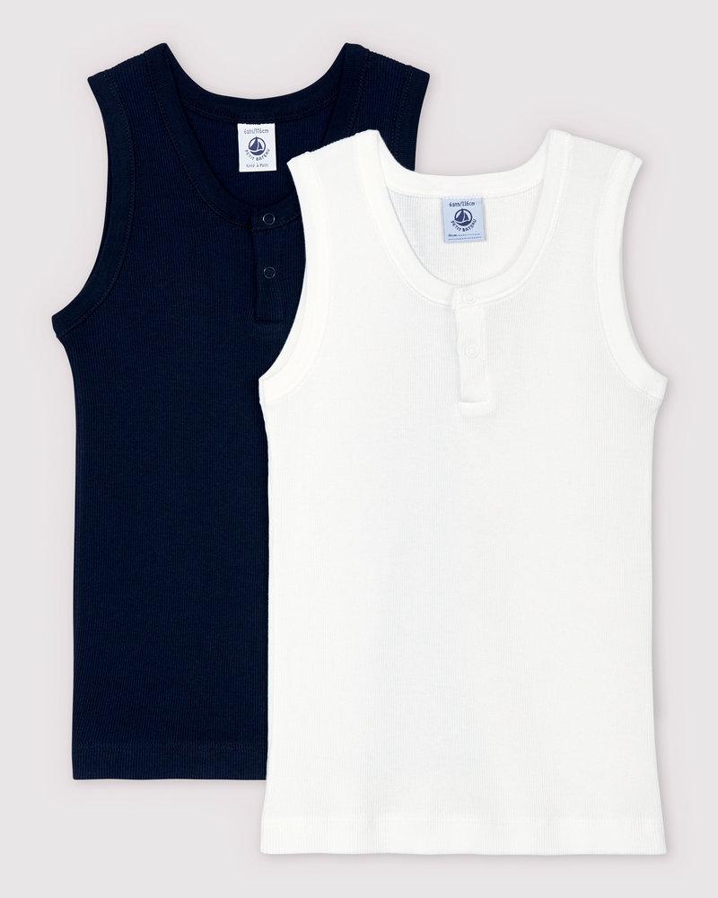 Petit Bateau Set van 2 onderhemdjes | Rib