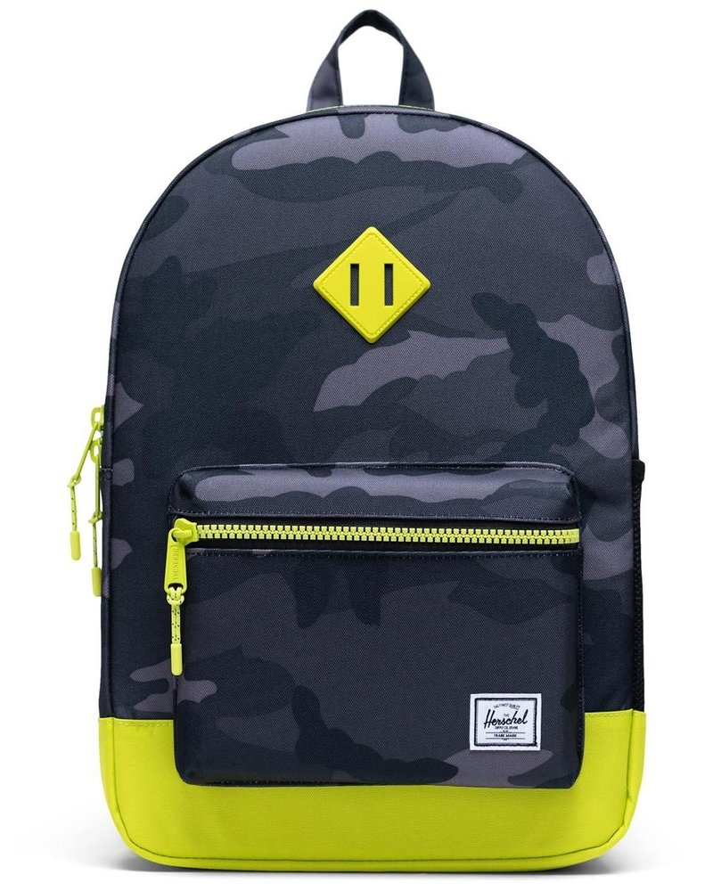 herschel Heritage Youth XL | Night Camo - Lime PunchBlack-Saddle brown