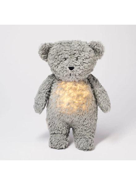 Moonie Moonie | Organic knuffelbeer met licht en geluid | Mineral grey