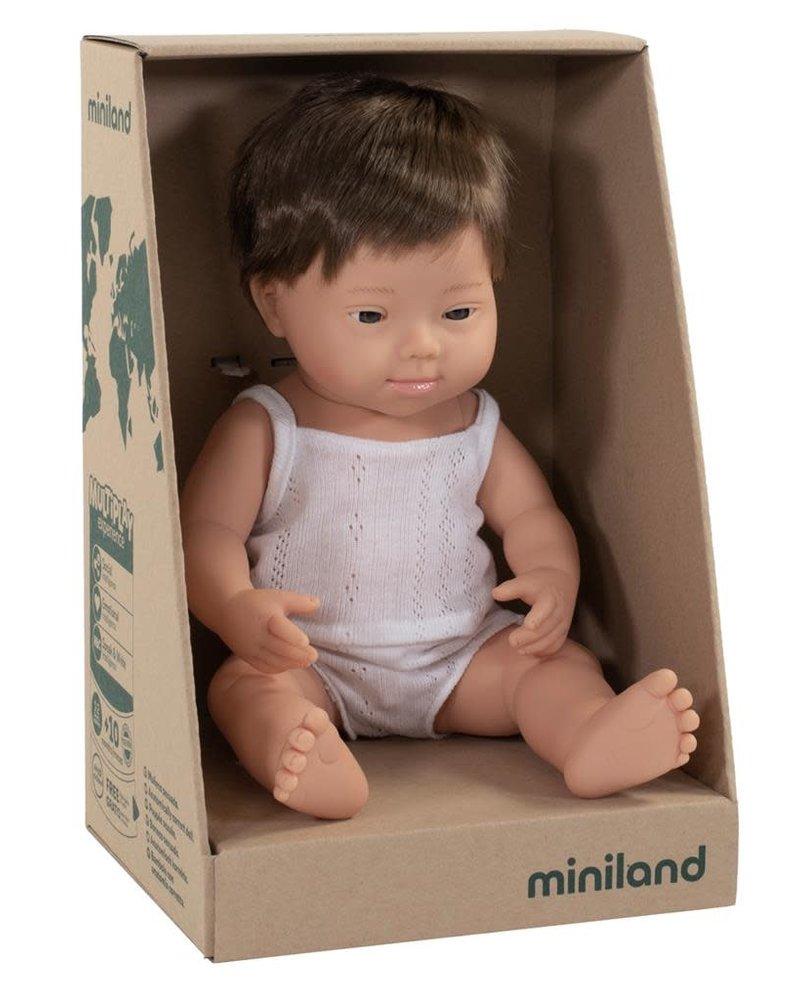 Miniland Pop | Jongen met Down - vanillegeur (38cm)