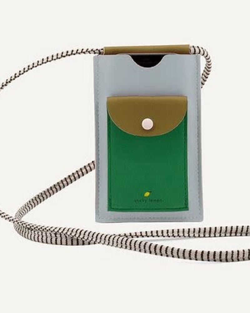Sticky Lemon Phone pouch XL   Steel blue + Brassy green