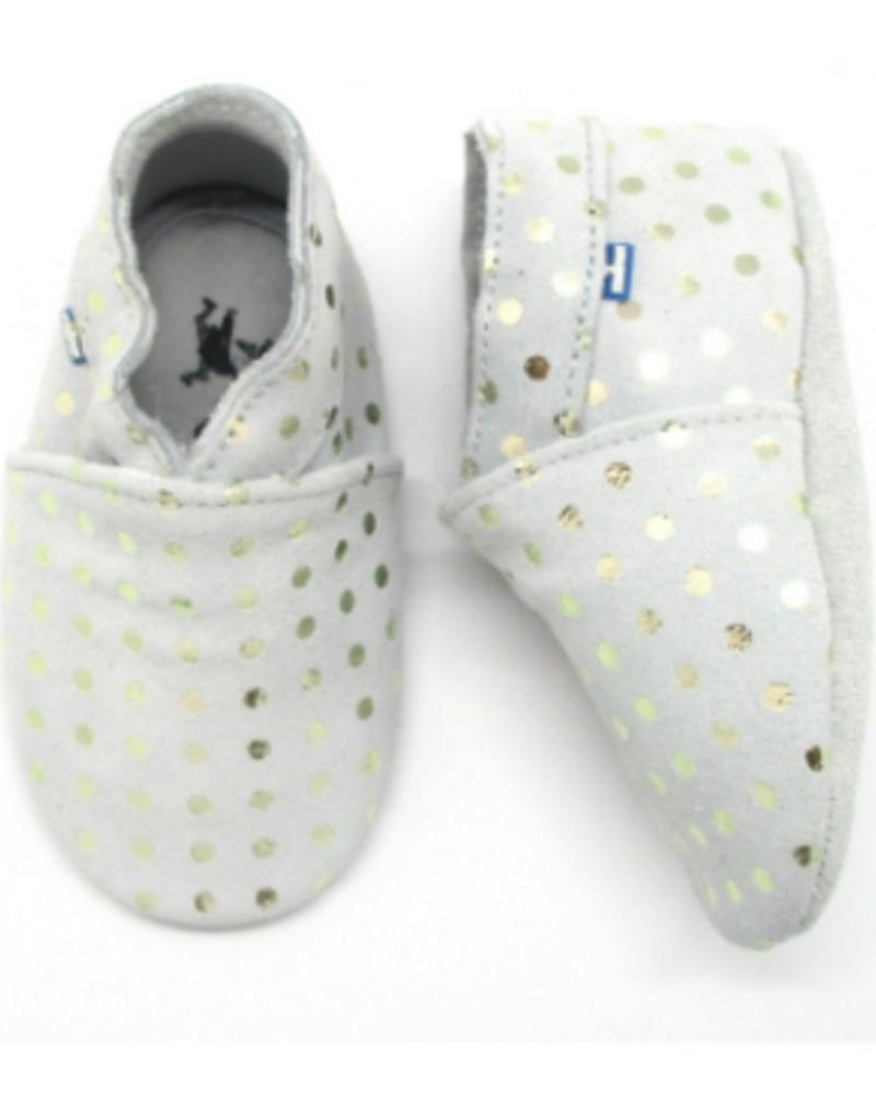 Stabifoot Babyslofjes | Grey + silver dots | 3-6 maanden