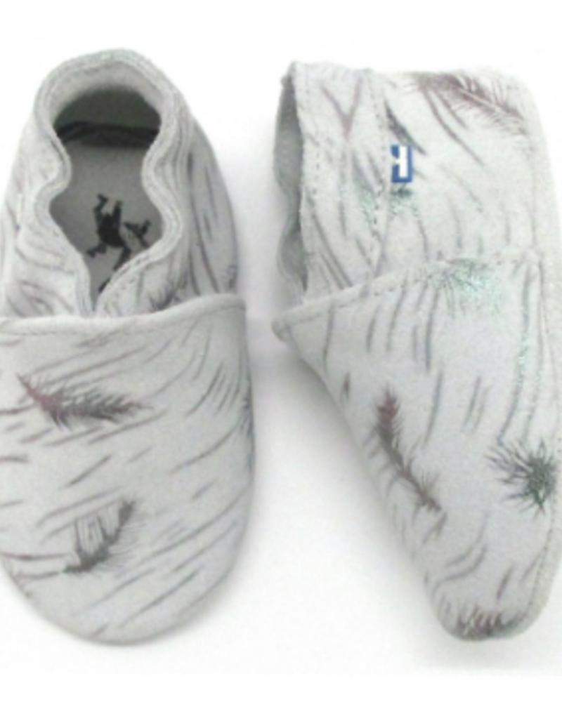 Stabifoot Babyslofjes | Grey + Silver Feathers