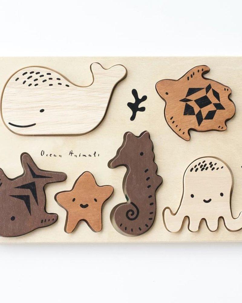 Wee Gallery Houten inlegpuzzel   Ocean animals