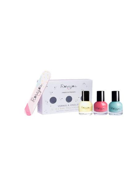 Rosajou Set van 3 peel-off nagellakjes + nagelvijl | Lagon + caprice + corail