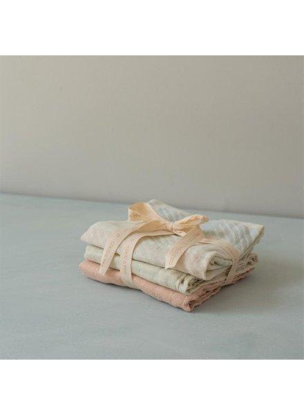 Coco & Pine Set van 3 tetradoeken   Colette   Pink + olive + check