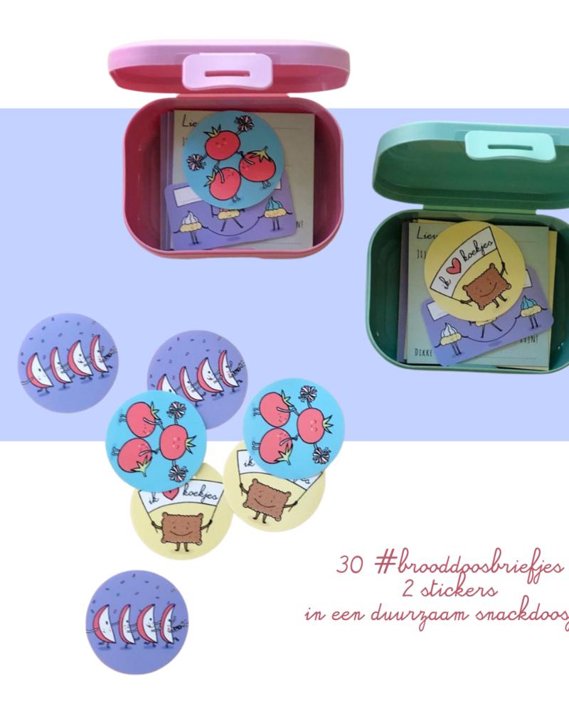 Brooddoosbriefjes reeks 2 - met een groen snackdoosje