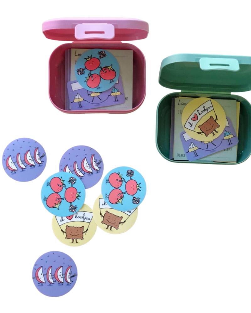 Brooddoosbriefjes reeks 2 - met een roze snackdoosje