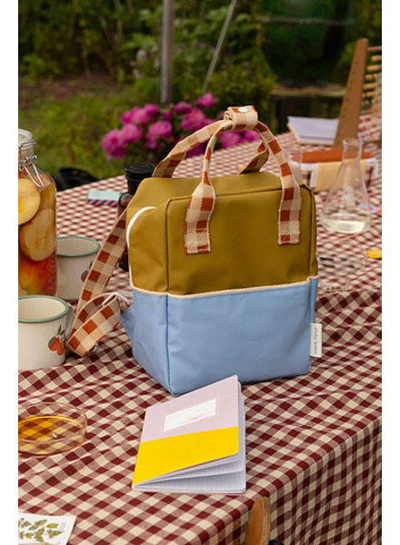 Sticky Lemon Rugzak Small | Colourblocking | Blue berry + Willow brown + Pear green
