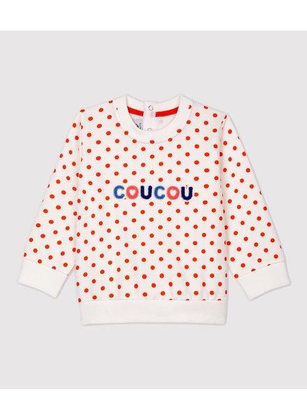 Petit Bateau Sweater met oranje dots | Coucou