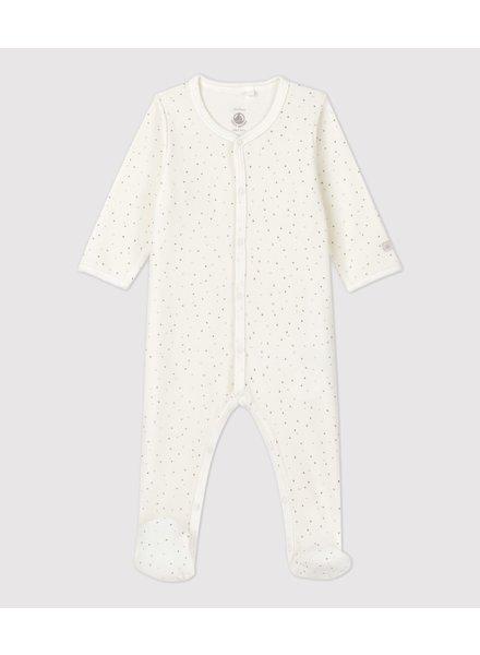 Petit Bateau Witte velours pyjama met kleine sterretjes