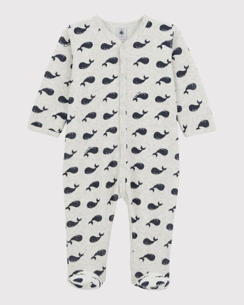 Petit Bateau Meleegrijze velours pyjama met voetjes | Walvissen