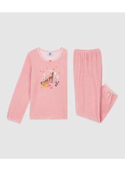 Petit Bateau Roze velours pyjama