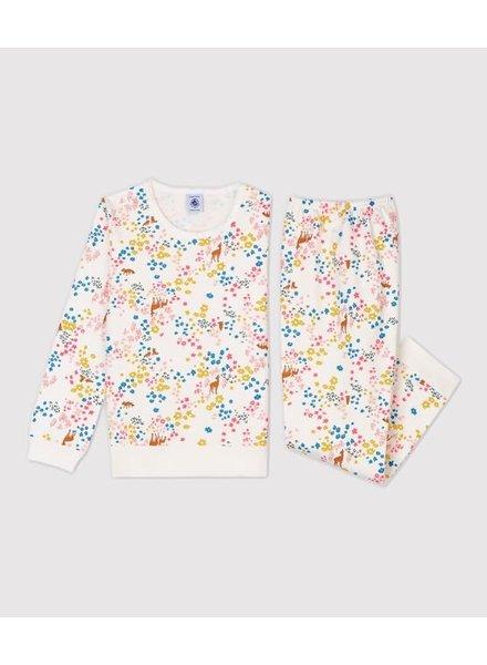 Petit Bateau Warme molton pyjama met bloemenprint