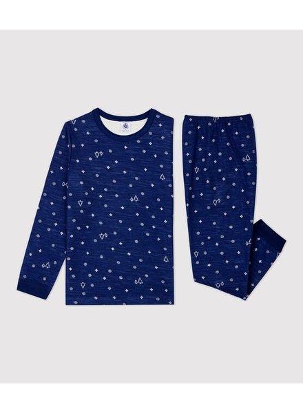 Petit Bateau Winterpyjama met wol | Donkerblauw