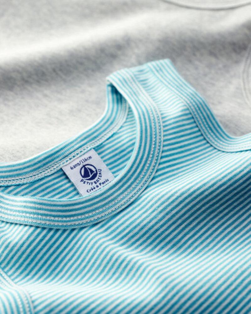 Petit Bateau Set van 2 onderhemdjes met korte mouw | Meleegrijs + milleraies