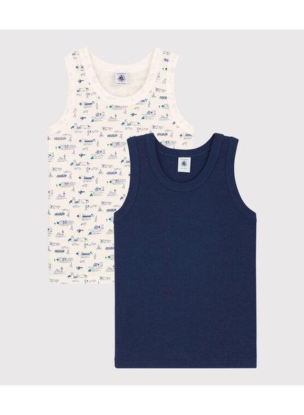 Petit Bateau Set van 2 onderhemdjes - debardeurs   Verkeer + navy