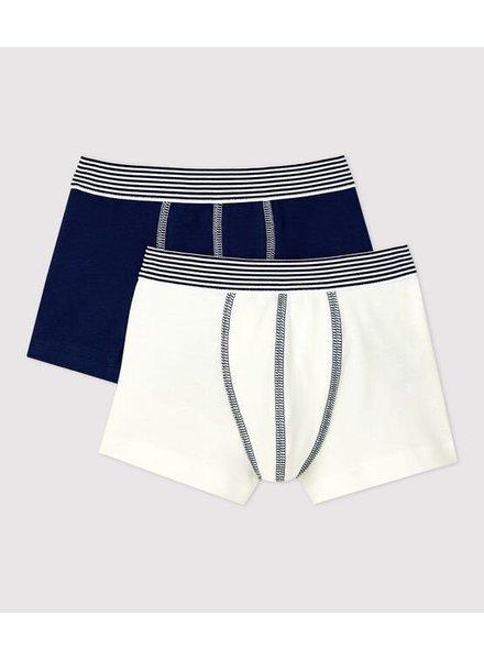 Petit Bateau Set van 2 boxershorts   Wit + navy