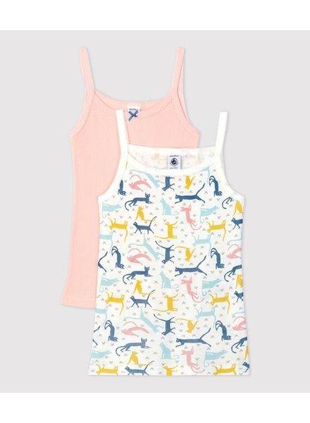 Petit Bateau Set van 2 onderhemdjes met spaghettibandjes   Roze + katten