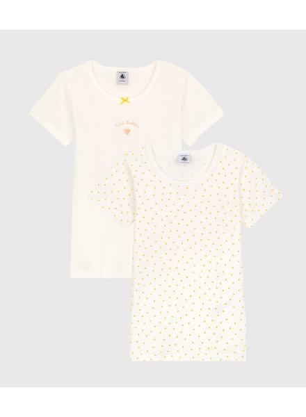Petit Bateau Set van 2 onderhemdjes met korte mouw   Gele hartjes