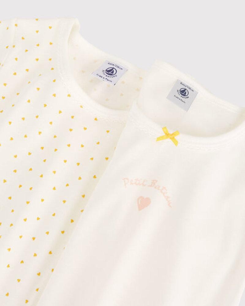 Petit Bateau Set van 2 onderhemdjes met korte mouw | Gele hartjes