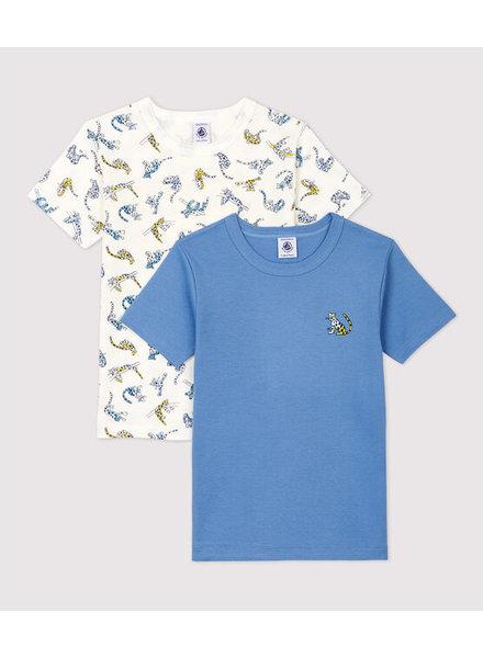 Petit Bateau Set van 2 onderhemdjes met korte mouw   Cheetahs