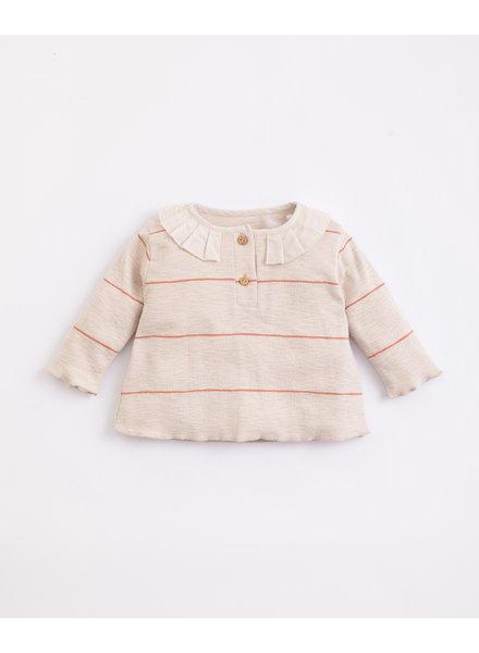 Gestreept rib T-shirt met kraagje | Miró