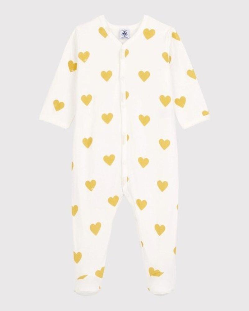 Petit Bateau Babypyjama met gele hartjes