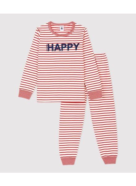 Petit Bateau Rood gestreepte pyjama met molton | Happy