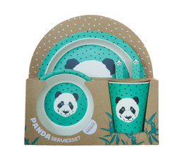 Panda bamboo dinnerware set