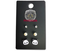Pandasia Panda stud earrings silver colored